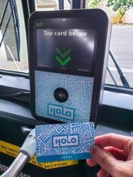 COURTESY HONOLULU DEPARTMENT OF TRANSPORTATION SERVICES                                 Starting July 1, TheBus riders will be switching to electronic HOLO cards instead of paper passes.