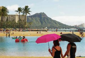CINDY ELLEN RUSSELL / JANUARY 2018                                 Today's forecast is mostly sunny, with highs from 81 to 86 degrees, and variable winds from 5 to 15 mph Here, beach goers enjoy the Duke Kahanamoku Lagoon in Waikiki in 2018.