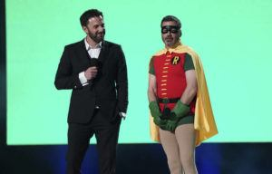 """ASSOCIATED PRESS                                 Ben Affleck and Jimmy Kimmel speak at """"Vax Live: The Concert to Reunite the World"""" on May 2 at SoFi Stadium in Inglewood, Calif."""