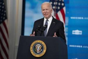 ASSOCIATED PRESS                                 President Joe Biden delivers remarks about COVID vaccinations in the South Court Auditorium at the White House today in Washington.
