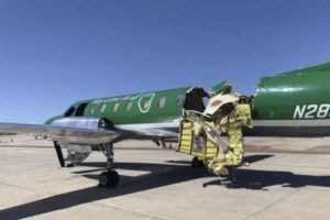 ASSOCIATED PRESS                                 This image from CBS Denver shows a Key Lime Air Metroliner that landed safely at Centennial Airport after a mid-air collision near Denver today. Federal officials say two airplanes collided but that there are no injuries. The collision between a twin-engine Fairchild Metroliner and a single-engine Cirrus SR22 happened as both planes were landing, according to the National Transportation Safety Board. Key Lime Air, which owns the Metroliner, says its aircraft sustained substantial damage to the tail section but that the pilot was able to land safely.