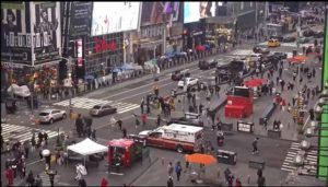 ASSOCIATED PRESS                                 In this image taken from video by the FDNY, pedestrians hurry away from the scene of a shooting in Times Square, Saturday in New York. New York City police say three innocent bystanders including a 4-year-old girl who was toy shopping have been shot in Times Square and officers are looking for suspects. All the victims are expected to recover.
