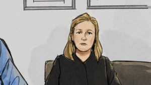 ASSOCIATED PRESS                                 In this courtroom sketch, former Brooklyn Center police Officer Kim Potter is shown during a preliminary hearing today in Brooklyn Center, Minn. A December trial date has been set for Potter, who has been charged with second-degree manslaughter in Daunte Wright's shooting death.