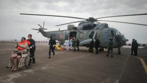 COURTESY INDIAN NAVY VIA AP                                 One of the men rescued by the navy from the Arabian sea being brought for medical attention at naval air station INS Shikra in Mumbai, India, Tuesday.