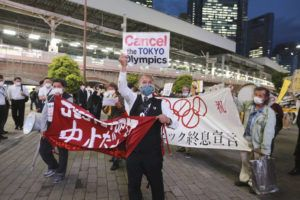 ASSOCIATED PRESS                                 Demonstrators protest against the Tokyo 2020 Olympics in Tokyo on Monday.