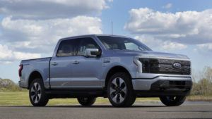 ASSOCIATED PRESS                                 A pre-production Ford F-150 Lightning is shown in Bruce Township, Mich., last Wednesday.
