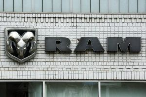 ASSOCIATED PRESS / 2017                                 The Ram logo at a Chrysler dealership in Pittsburgh. Fiat Chrysler said that it is recalling more than a half-million heavy-duty Ram trucks to fix a problem that can cause the wheels to fall off.