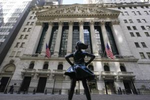 ASSOCIATED PRESS                                 The Fearless Girl statue stands in front of the New York Stock Exchange in New York's Financial District last Sunday.