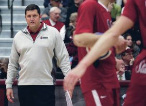 ASSOCIATED PRESS / 2014                                 Stanford men's volleyball head coach John Kosty talks to his team against BYU during the fifth set of the NCAA men's college volleyball tournament semifinals at Gentile Arena in Chicago.