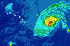 COURTESY NOAA                                 This enhanced color satellite image shows Hurricane Douglas east of the Hawaiian islands on July 25.