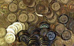 ASSOCIATED PRESS                                 Bitcoin tokens, seen in April 2013, in Sandy, Utah. The crypto bubble that inflated Bitcoin's value past $1 trillion and added billions to nonsense digital tokens overnight is bursting.