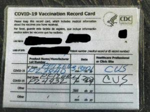 CALIFORNIA DEPARTMENT OF ALCOHOLIC BEVERAGE CONTROL VIA NEW YORK TIMES                                 A fraudulent COVID-19 vaccination card purchased by agents at the Old Corner Saloon in Clements, Calif.
