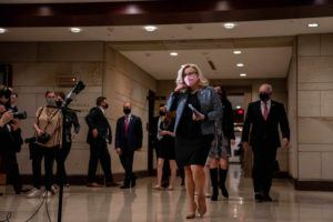 NEW YORK TIMES / APRIL 20                                 Rep. Liz Cheney (R-Wyo.) arrives to speak at a news conference on Capitol Hill.