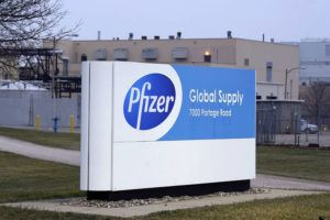 ASSOCIATED PRESS                                 The Pfizer Global Supply Kalamazoo manufacturing plant was shown, Dec. 11, in Portage, Mich..