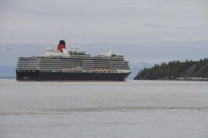 ASSOCIATED PRESS                                 The Cunard cruise ship Queen Elizabeth sails through Cook Inlet in 2019 for a port call in Anchorage, Alaska. Federal officials say a lawsuit in Florida could block cruise ships from visiting Alaska in summer 2021.