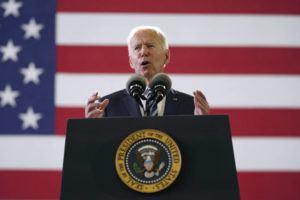 ASSOCIATED PRESS                                 President Joe Biden spoke to American service members at RAF Mildenhall in Suffolk, England, today.