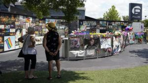 ASSOCIATED PRESS                                 Visitors pay tribute to the display outside the Pulse nightclub memorial Friday, June 11, in Orlando, Fla. Saturday will mark the fifth anniversary of the mass shooting at the site.