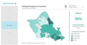 COURTESY HAWAII.HEALTH.GOV                                 A map showing COVID-19 vaccination progress rates by zip code on Oahu.