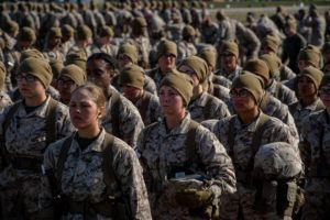 NEW YORK TIMES / 2019                                 Women Marine recruits stand during training at Parris Island in South Carolina.
