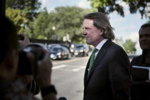 NEW YORK TIMES                                 Former White House counsel Donald McGahn, on Capitol Hill in Washington, today, after testifying before the House Judiciary Committee about whether former President Donald Trump obstructed the Russia investigation.