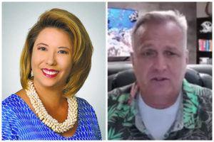 COURTESY PHOTO AND STAR-ADVERTISER                                 Retail Merchants of Hawaii's Tina Yamaki and Hawaii Restaurant Association's Greg Maples