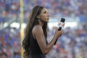 ASSOCIATED PRESS                                 ESPN's Maria Taylor works from the sideline during the first half of an NCAA college football game between Miami and Florida in Orlando, Fla., in 2019. Taylor is leaving ESPN after the two sides were unable to reach an agreement on a contract extension.