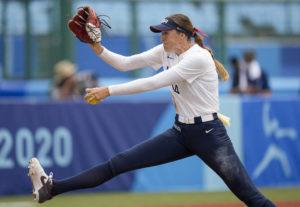 ASSOCIATED PRESS                                 The United States' Monica Abbott pitches against Canada.