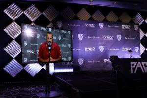 ASSOCIATED PRESS                                 Washington State head coach Nick Rolovich answers question via video conference during the Pac-12 Conference NCAA college football Media Day today in Los Angeles. Rolovich did not attend in person because he chose not to get a COVID-19 vaccine.