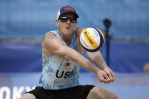 ASSOCIATED PRESS                                 Tri Bourne, of the United States, returns a shot during a men's beach volleyball match against Switzerland at the 2020 Summer Olympics, Wednesday, in Tokyo, Japan.