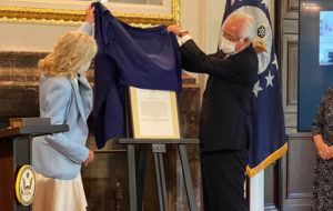 POOL PHOTO                                 First lady Jill Biden dedicated a room in the U.S. ambassador's residence to the late U.S. Sen. Daniel K. Inouye and his wife, Irene.