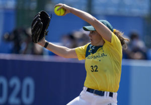 ASSOCIATED PRESS                                 Kaia Parnaby pitches for Australia against Japan. Parnaby is one of four Australians that played at the University of Hawaii.