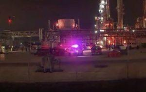 SCREENSHOT FROM ASSOCIATED PRESS VIDEO                                 Two people are dead after a chemical leak Tuesday evening at plant in La Porte, Texas.