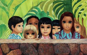 """COURTESY OF HERITAGE AUCTIONS                                 Margaret Keane's painting, """"Eyes Upon You,"""" was taken from a Hawaii dental office in November 1972. The oil work was sold for $35, 000 at a December 2020 Heritage Auctions event."""