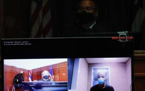 JAMM AQUINO Davin Daniel, seen on a video screen, makes his initial appearance in the courtroom of Judge William M. Domingo via video conference from courthouse cellblock on Monday, Aug. 30, 2021, on multiple charges of attempted murder, robbery, terroristic threatening and firearms after he allegedly shot three people at an illegal game room in the Keeaumoku area on the night of Aug. 24