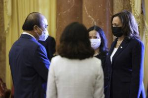 POOL PHOTO VIA AP                                 U.S. Vice President Kamala Harris, right, meets Vietnam's President Nguyen Xuan Phuc during a bilateral meeting at the Presidential Palace in Hanoi on Wednesday.