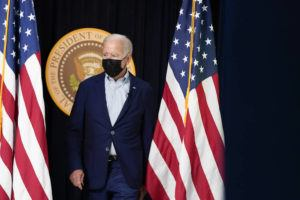 ASSOCIATED PRESS                                 President Joe Biden arrives to attend a FEMA briefing on Hurricane Ida in the South Court Auditorium in the Eisenhower Executive Office Building on the White House Campus in Washington.