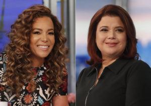 """ASSOCIATED PRESS                                 This combination of photos shows co-hosts Sunny Hostin, left, and Ana Navarro on the set of """"The View,"""" in New York on Sept. 17. Hostin and Navarro, who were abruptly pulled off the air on Friday before a planned interview with Vice President Kamala Harris said their tests were false positives. Their false positives led to some awkward television and their boss, executive producer Brian Teta, apologized to them on the air today."""