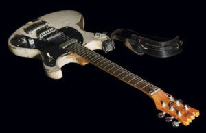 ASSOCIATED PRESS                                 This Aug. 2021 photo, provided by Boston-based RR Auction, shows a 1965 Mosrite Ventures II electric guitar played by Johnny Ramone. The guitar sold at auction over the weekend for more than $900,000, the auctioneer said.