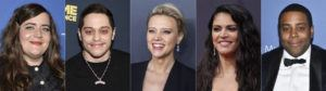 """ASSOCIATED PRESS                                 This combination of photos shows cast members from """"Saturday Night Live,"""" from left, Aidy Bryant, Pete Davidson, Kate McKinnon, Cecily Strong and Kenan Thompson, who will return for the 2021-22 season of the sketch comedy series."""