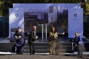 ASSOCIATED PRESS                                 Former President Barack Obama, second from left, is joined by Illinois Gov. J.B. Pritzker, left, former first lady Michelle Obama, and Chicago Mayor Lori Lightfoot during a groundbreaking ceremony for the Obama Presidential Center in Chicago.