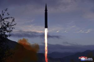 KOREAN CENTRAL NEWS AGENCY/KOREA NEWS SERVICE VIA AP                                 This photo provided by the North Korean government shows what North Korea claims to be a new hypersonic missile launched from Toyang-ri, Ryongrim County, Jagang Province, North Korea.