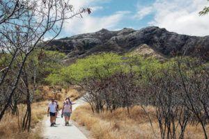 CRAIG T. KOJIMA / CKOJIMA@STARADVERTISER.COM                                 People walk a path near tourism hot spot Diamond Head crater on Thursday.