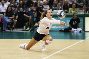 STAR-ADVERTISER / 2019                                 Hawaii sophomore Riley Wagoner led Rainbow Wahine players in double figures with a career-high 20 kills in a four-set Big West women's volleyball win over UC San Diego today in La Jolla, Calif.