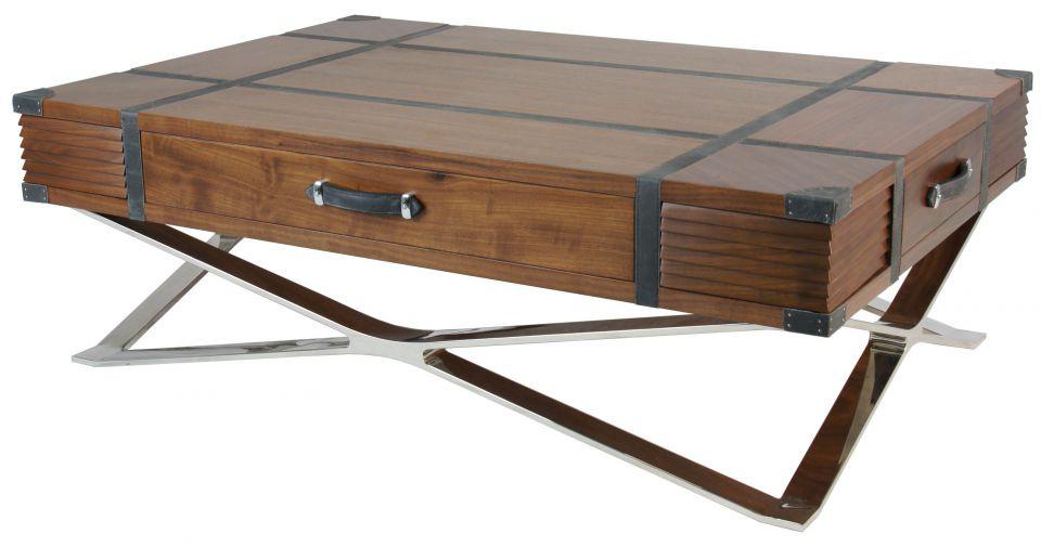 table basse carree en noyer et cuir