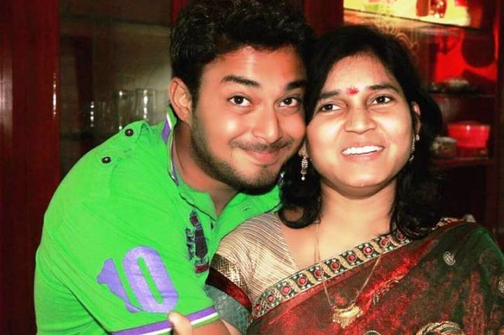 Tanish with his mother