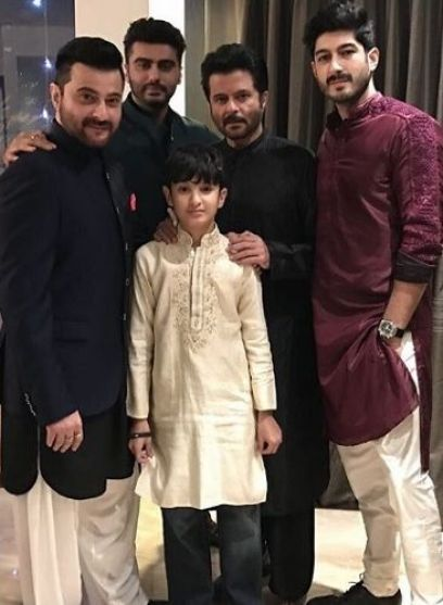 Anil Kapoor (second from right) and Sanjay Kapoor (extreme left) with Arjun Kapoor (second from left, standing at the back), Mohit Marwah (extreme right) and Jahaan Kapoor (centre)