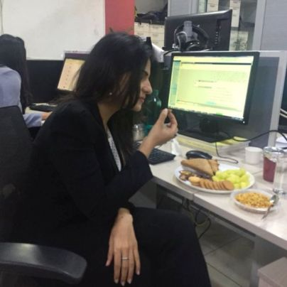 Rubika Liaquat having snacks