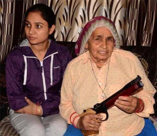 Chandro Tomar with her granddaughter