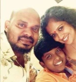 Manju Pathrose with her husband and her son