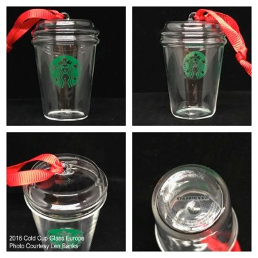 2016 Cold Cup Glass Europe Starbucks Ornament
